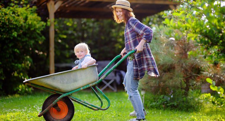 Adorable toddler boy having fun in a wheelbarrow pushing by mum in domestic garden, on warm sunny day